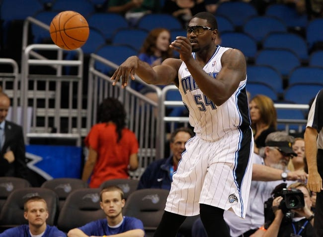 Oct 18, 2013; Orlando, FL, USA; Orlando Magic power forward Jason Maxiell (54) passes the ball against the Memphis Grizzlies during the first half at Amway Center. Mandatory Credit: Kim Klement-USA TODAY Sports