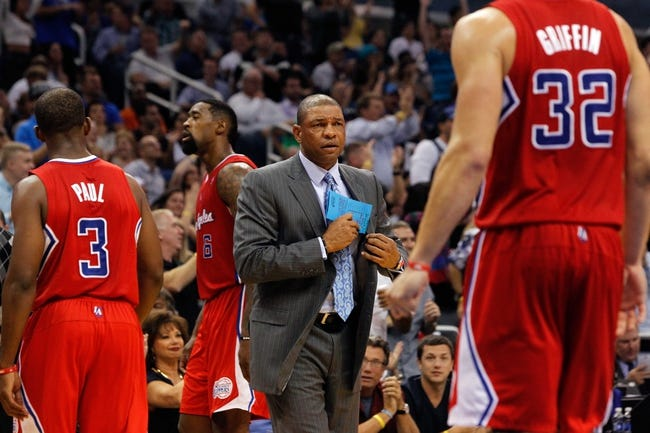 Nov 6, 2013; Orlando, FL, USA; Los Angeles Clippers head coach Doc Rivers against the Orlando Magic during the second half at Amway Center. Orlando Magic defeated the Los Angeles Clippers 98-90. Mandatory Credit: Kim Klement-USA TODAY Sports