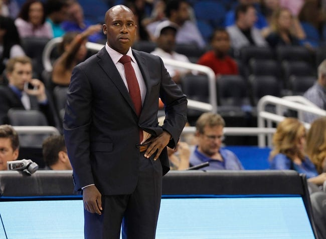 Oct 18, 2013; Orlando, FL, USA; Orlando Magic head coach Jacque Vaughn against the Memphis Grizzlies  during the first half at Amway Center. Mandatory Credit: Kim Klement-USA TODAY Sports