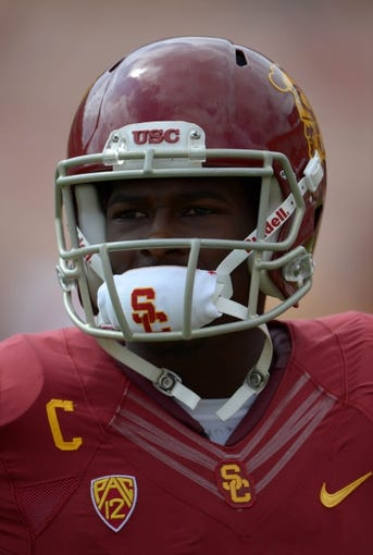 Sep 21, 2013; Los Angeles, CA, USA; Southern California Trojans receiver Marqise Lee (9) during the game against the Utah State Aggies at the Los Angeles Memorial Coliseum. USC defeated Utah State 17-14. Mandatory Credit: Kirby Lee-USA TODAY Sports