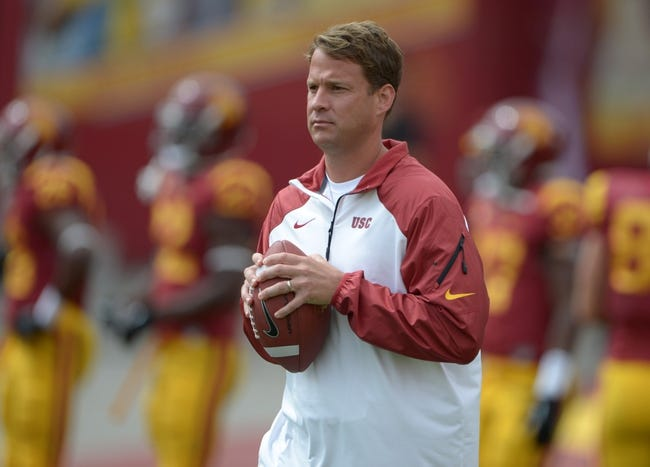 Sep 21, 2013; Los Angeles, CA, USA; Southern California Trojans coach Lane Kiffin before the game against the Utah State Aggies at the Los Angeles Memorial Coliseum. Mandatory Credit: Kirby Lee-USA TODAY Sports