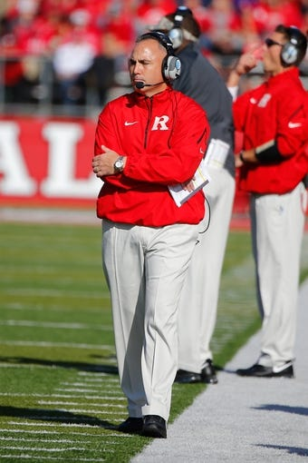 Nov 16, 2013; Piscataway, NJ, USA;  Rutgers Scarlet Knights head coach Kyle Flood during the first half against the Cincinnati Bearcats at High Points Solutions Stadium. Mandatory Credit: Jim O'Connor-USA TODAY Sports