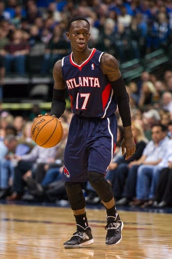 Oct 30, 2013; Dallas, TX, USA; Atlanta Hawks point guard Dennis Schroder (17) during the game against the Dallas Mavericks at American Airlines Center. The Mavericks defeated the Hawks 118-109. Mandatory Credit: Jerome Miron-USA TODAY Sports