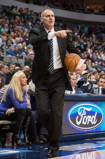 Oct 30, 2013; Dallas, TX, USA; Dallas Mavericks head coach Rick Carlisle during the game against the Atlanta Hawks at American Airlines Center. The Mavericks defeated the Hawks 118-109. Mandatory Credit: Jerome Miron-USA TODAY Sports