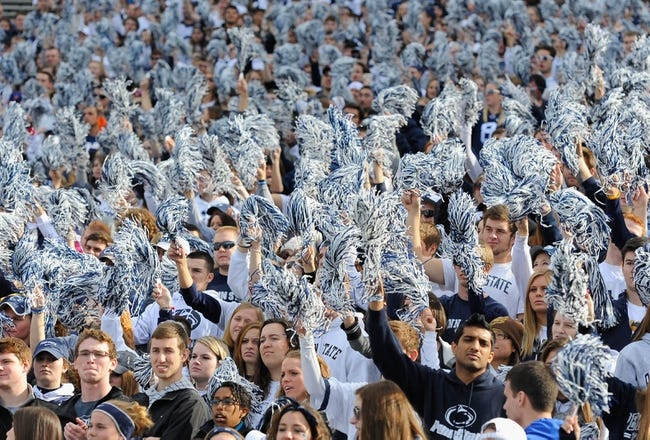 Nov 16, 2013; University Park, PA, USA; Penn State Nittany Lions fans cheer prior to the game against the Purdue Boilermakers at Beaver Stadium.  Penn State defeated Purdue  45-21.  Mandatory Credit: Rich Barnes-USA TODAY Sports