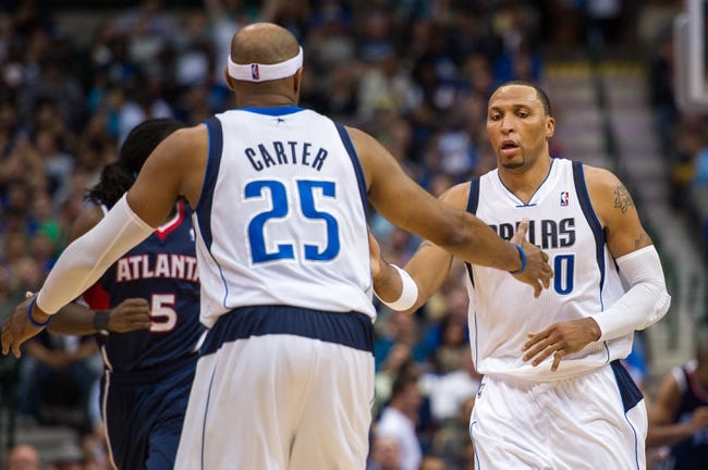 Oct 30, 2013; Dallas, TX, USA; Dallas Mavericks shooting guard Vince Carter (25) and small forward Shawn Marion (0) during the game against the Atlanta Hawks at American Airlines Center. The Mavericks defeated the Hawks 118-109. Mandatory Credit: Jerome Miron-USA TODAY Sports