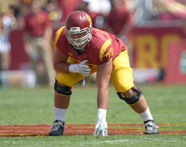 Sep 21, 2013; Los Angeles, CA, USA; Southern California Trojans left tackle Chad Wheeler (72) during the game against the Utah State Aggies at the Los Angeles Memorial Coliseum. USC defeated Utah State 17-14. Mandatory Credit: Kirby Lee-USA TODAY Sports