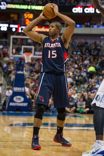 Oct 30, 2013; Dallas, TX, USA; Atlanta Hawks center Al Horford (15) during the game against the Dallas Mavericks at American Airlines Center. The Mavericks defeated the Hawks 118-109. Mandatory Credit: Jerome Miron-USA TODAY Sports