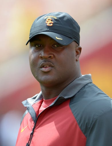 Sep 21, 2013; Los Angeles, CA, USA; Southern California Trojans receivers coach Tee Martin before the game against the Utah State Aggies at the Los Angeles Memorial Coliseum. Mandatory Credit: Kirby Lee-USA TODAY Sports