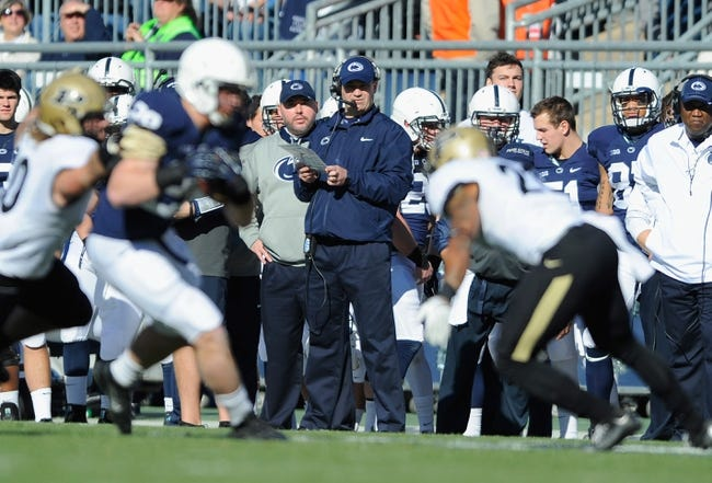 Nov 16, 2013; University Park, PA, USA; Penn State Nittany Lions head coach Bill O'Brien looks on from the sidelines against the Purdue Boilermakers during the first quarter at Beaver Stadium.  Penn State defeated Purdue  45-21.  Mandatory Credit: Rich Barnes-USA TODAY Sports