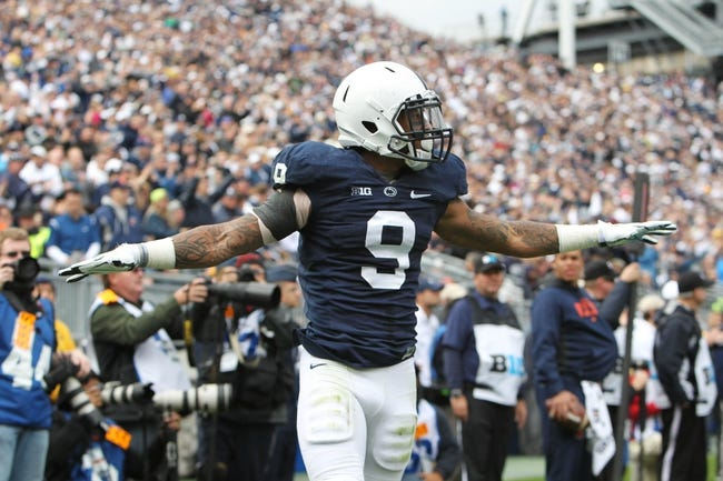 Nov 2, 2013; University Park, PA, USA; Penn State Nittany Lions cornerback Jordan Lucas (9) reacts during the second quarter against the Illinois Fighting Illini at Beaver Stadium. Penn State defeated Illinois 24-17. Mandatory Credit: Matthew O'Haren-USA TODAY Sports