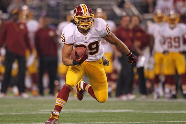 Nov 7, 2013; Minneapolis, MN, USA; Washington Redskins running back Roy Helu (29) against the Minnesota Vikings at Mall of America Field at H.H.H. Metrodome. The Vikings defeated the Redskins 34-27. Mandatory Credit: Brace Hemmelgarn-USA TODAY Sports