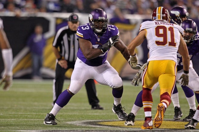 Nov 7, 2013; Minneapolis, MN, USA; Minnesota Vikings offensive lineman J'Marcus Webb (73) against the Washington Redskins at Mall of America Field at H.H.H. Metrodome. The Vikings defeated the Redskins 34-27. Mandatory Credit: Brace Hemmelgarn-USA TODAY Sports
