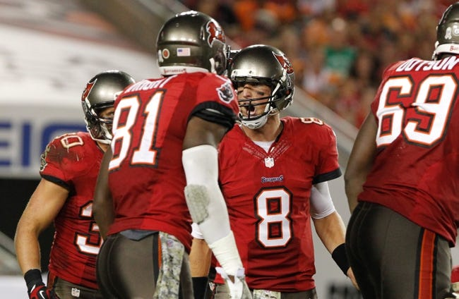 Nov 11, 2013; Tampa, FL, USA; Tampa Bay Buccaneers quarterback Mike Glennon (8) calls a play against the Miami Dolphins during the second half at Raymond James Stadium. Mandatory Credit: Kim Klement-USA TODAY Sports