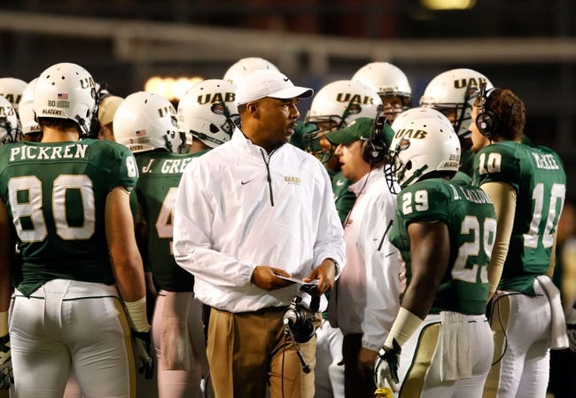 Nov 21, 2013; Birmingham, AL, USA; UAB Blazers Head Coach Garrick McGee during the game against the Rice Owls at Legion Field. Mandatory Credit: Marvin Gentry-USA TODAY Sports