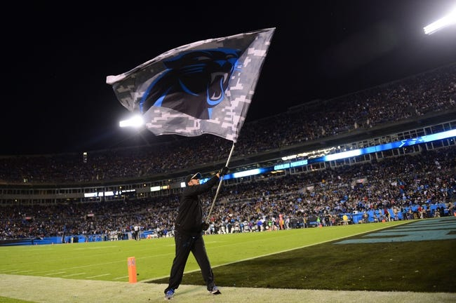 Nov 18, 2013; Charlotte, NC, USA; Carolina Panthers flag is waved after a score in the second quarter at Bank of America Stadium. Mandatory Credit: Bob Donnan-USA TODAY Sports