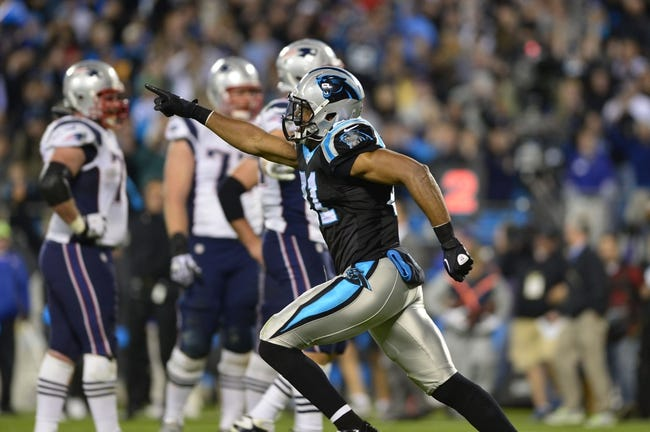 Nov 18, 2013; Charlotte, NC, USA; Carolina Panthers free safety Mike Mitchell (21) reacts at the end of the game. The Panthers defeated the Patriots 24-20 at Bank of America Stadium. Mandatory Credit: Bob Donnan-USA TODAY Sports