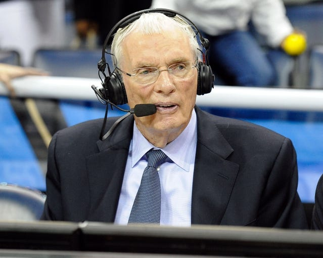 Nov 22, 2013; Memphis, TN, USA; Television analyst Hubie Brown after the game between the Memphis Grizzlies and San Antonio Spurs at FedExForum. San Antonio Spurs beat the Memphis Grizzlies 102-86. Mandatory Credit: Justin Ford-USA TODAY Sports