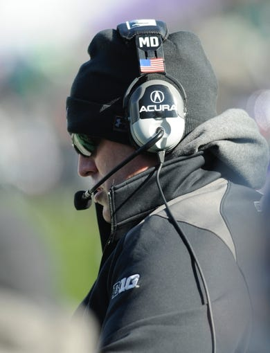 Nov 23, 2013; Evanston, IL, USA; Northwestern Wildcats head coach Pat Fitzgerald before the game against the Michigan State Spartans at Ryan Field. Mandatory Credit: Reid Compton-USA TODAY Sports