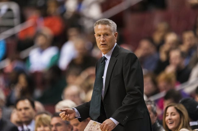 Nov 20, 2013; Philadelphia, PA, USA; Philadelphia 76ers head coach Brett Brown during the first quarter against the Toronto Raptors at Wells Fargo Center. The Raptors defeated the Sixers 108-98. Mandatory Credit: Howard Smith-USA TODAY Sports