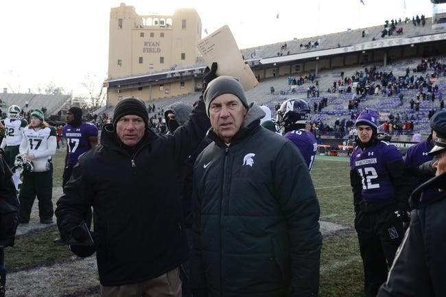 Nov 23, 2013; Evanston, IL, USA; Michigan State Spartans head coach Mark Dantonio after the game against the Northwestern Wildcats at Ryan Field. Michigan State won 30-6. Mandatory Credit: Reid Compton-USA TODAY Sports