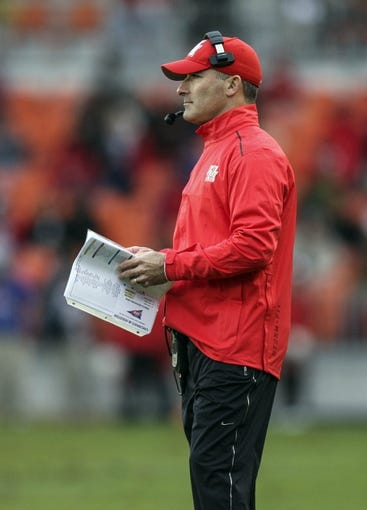Nov 23, 2013; Houston, TX, USA; Houston Cougars head coach Tony Levine stands on the sideline during the second quarter against the Cincinnati Bearcats at BBVA Compass Stadium. Mandatory Credit: Troy Taormina-USA TODAY Sports