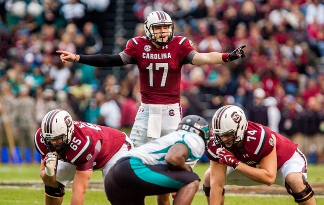 Nov 23, 2013; Columbia, SC, USA; South Carolina Gamecocks quarterback Dylan Thompson (17) calls the play at the line against the Coastal Carolina Chanticleers in the second half at Williams-Brice Stadium. Mandatory Credit: Jeff Blake-USA TODAY