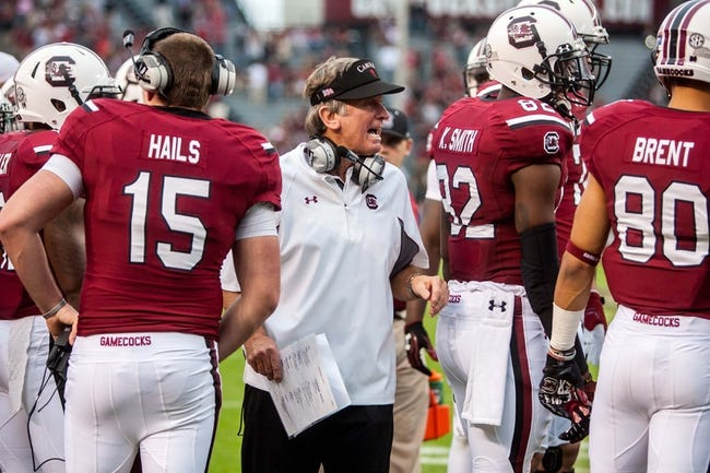 Nov 23, 2013; Columbia, SC, USA; South Carolina Gamecocks head coach Steve Spurrier directs his team against the Coastal Carolina Chanticleers in the second half at Williams-Brice Stadium. Mandatory Credit: Jeff Blake-USA TODAY