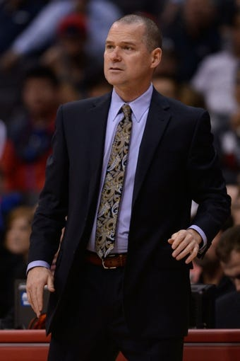 Nov 23, 2013; Los Angeles, CA, USA; Sacramento Kings head coach Michael Malone during the game against the Los Angeles Clippers during the first quarter at Staples Center. Mandatory Credit: Kelvin Kuo-USA TODAY Sports