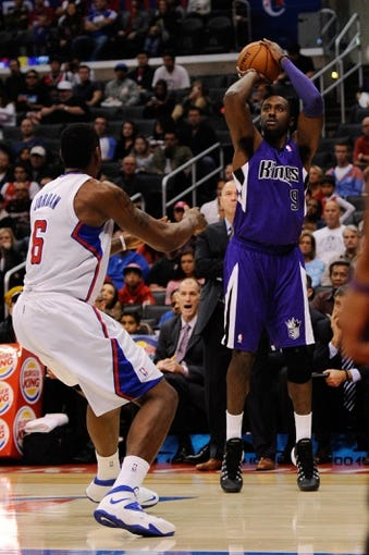 Nov 23, 2013; Los Angeles, CA, USA; Sacramento Kings forward Patrick Patterson (9) attempts a shot against the Los Angeles Clippers during the first quarter at Staples Center. Mandatory Credit: Kelvin Kuo-USA TODAY Sports