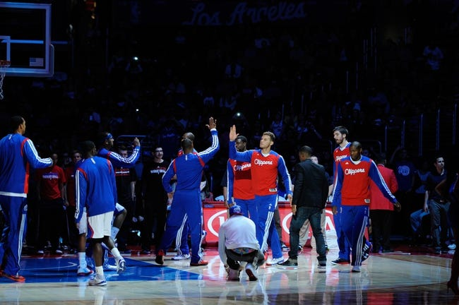 Nov 23, 2013; Los Angeles, CA, USA; Los Angeles Clippers forward Blake Griffin (32) is introduced prior to the game against the Sacramento Kings at Staples Center. Mandatory Credit: Kelvin Kuo-USA TODAY Sports