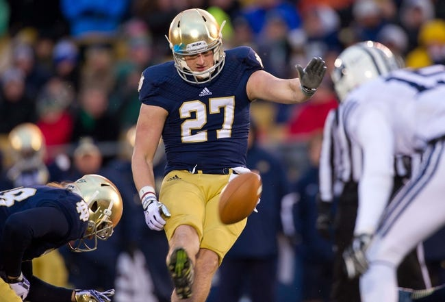 Nov 23, 2013; South Bend, IN, USA; Notre Dame Fighting Irish kicker Kyle Brindza (27) kicks a field goal in the second quarter against the BYU Cougars at Notre Dame Stadium. Mandatory Credit: Matt Cashore-USA TODAY Sports