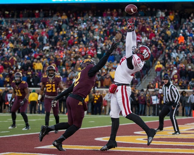 Nov 23, 2013; Minneapolis, MN, USA; Wisconsin Badgers tight end Sam Arneson (49) attempts to catch a pass in the second quarter over Minnesota Golden Gophers defensive back Cedric Thompson (2) at TCF Bank Stadium. Mandatory Credit: Jesse Johnson-USA TODAY Sports