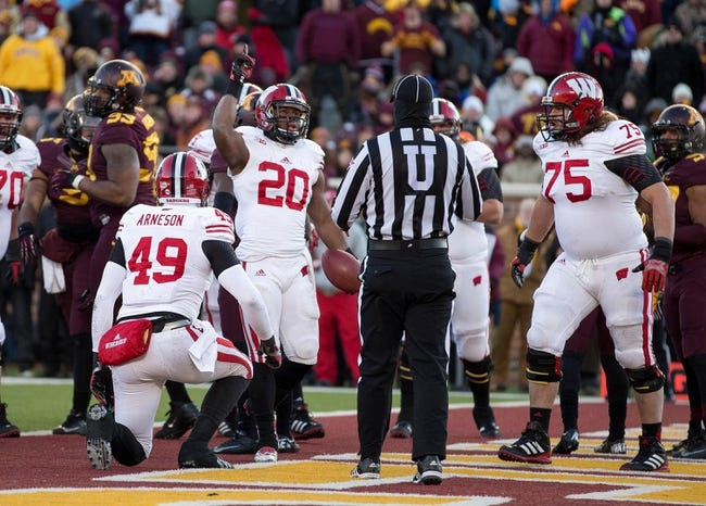 Nov 23, 2013; Minneapolis, MN, USA; Wisconsin Badgers running back James White (20) celebrates after scoring a touchdown in the second quarter against the Minnesota Golden Gophers at TCF Bank Stadium. Mandatory Credit: Jesse Johnson-USA TODAY Sports