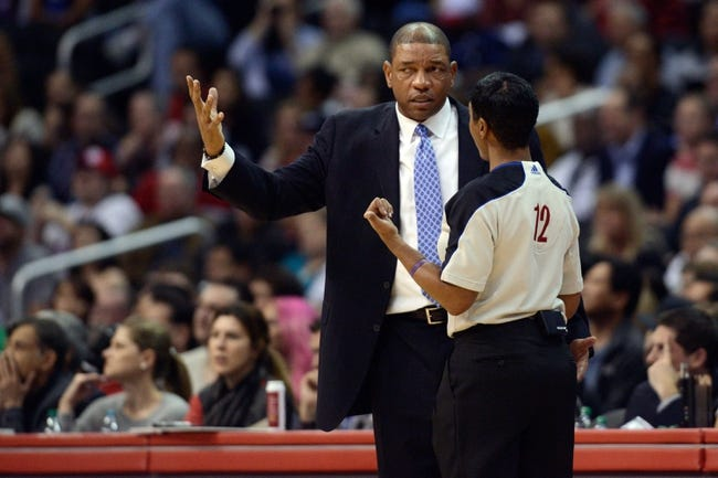 Nov 23, 2013; Los Angeles, CA, USA; Los Angeles Clippers head coach Doc Rivers talks to the referee in a game against the Sacramento Kings during the fourth quarter at Staples Center. The Los Angeles Clippers defeated the Sacramento Kings 103-102. Mandatory Credit: Kelvin Kuo-USA TODAY Sports