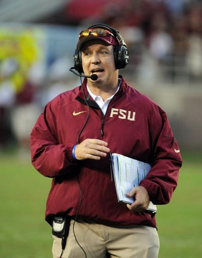 Nov 23, 2013; Tallahassee, FL, USA; Florida State Seminoles head coach Jimbo Fisher during the second half against the Idaho Vandals at Doak Campbell Stadium. Mandatory Credit: Melina Vastola-USA TODAY Sports