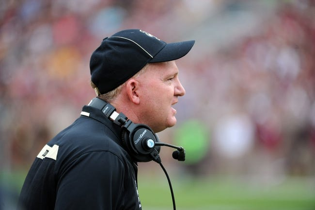 Nov 23, 2013; Tallahassee, FL, USA; Idaho Vandals head coach Paul Petrino during the first half against the Florida State Seminoles at Doak Campbell Stadium. Mandatory Credit: Melina Vastola-USA TODAY Sports