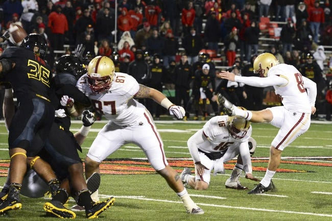 Nov 23, 2013; College Park, MD, USA;  Boston College Eagles kicker Nate Freese (85) kicks a 52 yard field goal as time expires to win the game against the Maryland Terrapins at Byrd Stadium. Boston College Eagles defeated Maryland Terrapins 29-26. Mandatory Credit: Tommy Gilligan-USA TODAY Sports