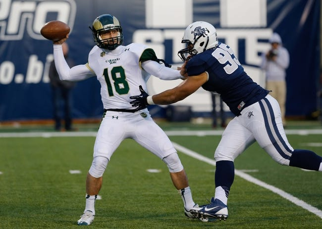 Nov 23, 2013; Logan, UT, USA; Colorado State Rams quarterback Garrett Grayson (18) throws the ball before being tackled by Utah State Aggies defensive lineman Ricky Ali'ifua (95) in the fourth quarter at Romney Stadium. Utah State Aggies won 13-0. Mandatory Credit: Chris Nicoll-USA TODAY Sports