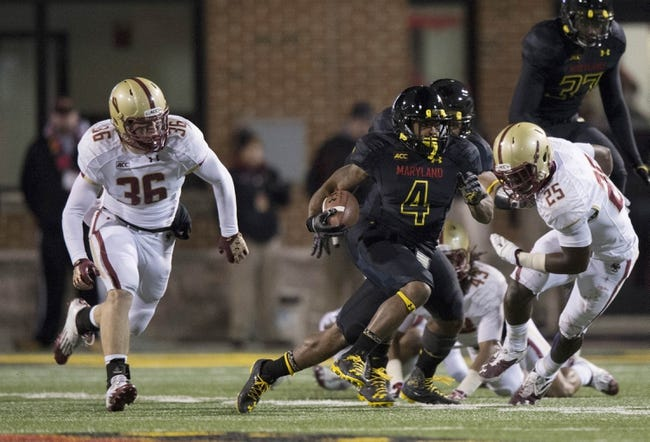 Nov 23, 2013; College Park, MD, USA;  Maryland Terrapins defensive back William Likely (4) returns a kick off during the second half of the game Boston College Eagles at Byrd Stadium. Boston College Eagles defeated Maryland Terrapins 29-26. Mandatory Credit: Tommy Gilligan-USA TODAY Sports