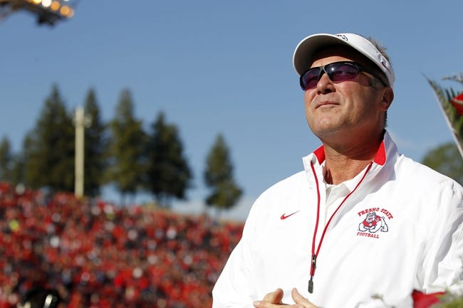 Nov 23, 2013; Fresno, CA, USA; Fresno State Bulldogs head coach Tim DeRuyter stands on the field before the start of the game against the New Mexico Lobos at Bulldog Stadium. The Bulldogs defeated the Lobos 69-28. Mandatory Credit: Cary Edmondson-USA TODAY Sports