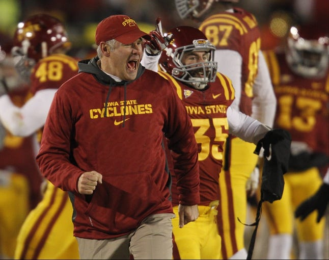 Nov 23, 2013; Ames, IA, USA; Iowa State Cyclones head coach Paul Rhoad yells during the game against the Kansas Jayhawks in the third quarter at Jack Trice Stadium. Mandatory Credit: Bruce Thorson-USA TODAY Sports