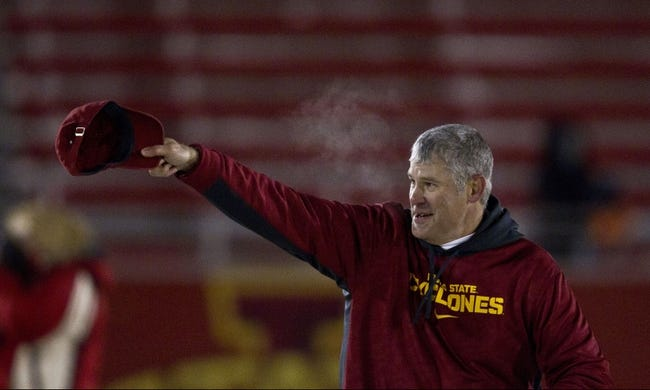 Nov 23, 2013; Ames, IA, USA; Iowa State Cyclones head coach Paul Rhoads waves to the fans after defeating the Kansas Jayhawks at Jack Trice Stadium. Iowa State won 34-0. Mandatory Credit: Bruce Thorson-USA TODAY Sports