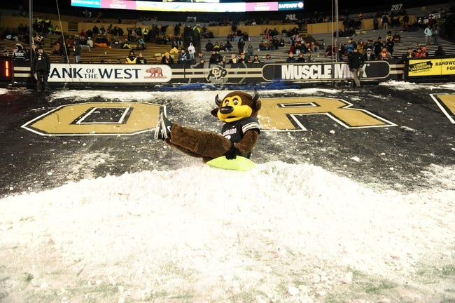 Nov 23, 2013; Boulder, CO, USA; Colorado Buffaloes mascot Ralphie rides a sled over snow in the fourth quarter of the game against the Southern California Trojans at Folsom Field. The Trojans defeated the Buffaloes 47-29. Mandatory Credit: Ron Chenoy-USA TODAY Sports