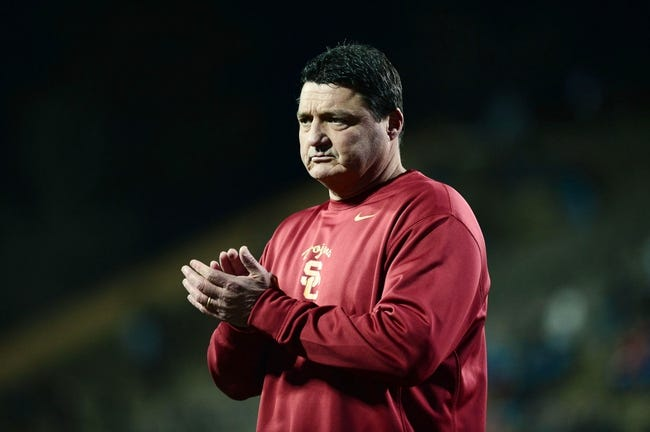 Nov 23, 2013; Boulder, CO, USA; Southern California Trojans interim head coach Ed Orgeron before the game against the Colorado Buffaloes at Folsom Field. The Trojans defeated the Buffaloes 47-29. Mandatory Credit: Ron Chenoy-USA TODAY Sports