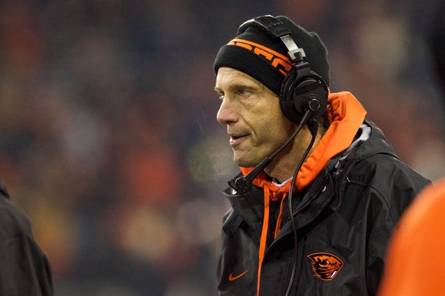 Nov 23, 2013; Corvallis, OR, USA; Oregon State Beavers head coach Mike Riley reacts in the second half against the Washington Huskies at Reser Stadium. Mandatory Credit: Jaime Valdez-USA TODAY Sports