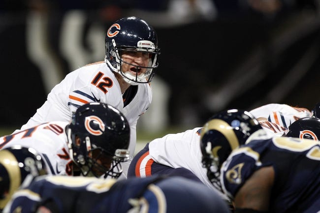 Nov 24, 2013; St. Louis, MO, USA; Chicago Bears quarterback Josh McCown (12) prepares to go to center during a game against the St. Louis Rams at the Edward Jones Dome. Mandatory Credit: Scott Kane-USA TODAY Sports
