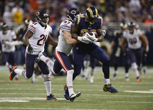 Nov 24, 2013; St. Louis, MO, USA; St. Louis Rams tight end Jared Cook (89) is tackled by Chicago Bears free safety Chris Conte (47) during the second half at the Edward Jones Dome. St. Louis defeated Chicago 42-21. Mandatory Credit: Jeff Curry-USA TODAY Sports