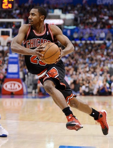 Nov 24, 2013; Los Angeles, CA, USA;  Chicago Bulls point guard Marquis Teague (25) in the second half the game against the Los Angeles Clippers at Staples Center. Clippers won 121-82. Mandatory Credit: Jayne Kamin-Oncea-USA TODAY Sports