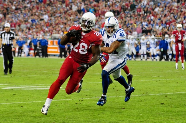 Nov 24, 2013; Phoenix, AZ, USA; Arizona Cardinals running back Rashard Mendenhall (28) runs for a 5 yard touchdown as Indianapolis Colts strong safety Antoine Bethea (41) defends during the second half at University of Phoenix Stadium. Mandatory Credit: Matt Kartozian-USA TODAY Sports